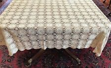 """Vintage Ecru Crochet Tablecloth/Bed Coverlet w/Scalloped Edges Approx 59"""" x 62"""""""