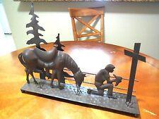 COWBOY PRAYER CHURCH FAITH HORSE METAL HOME SHELF ART WESTERN HOME DECOR NEW