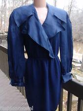 ST. JOHN SAKS 5TH santana KNIT DRESS-SILK collar long sleeves SAPPHIRE BLUE  S/M