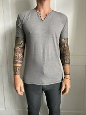 Dolce & Gabbana Grey Distressed Button V Neck Mens Tshirt