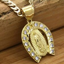 "Mens 18k Gold Plated Cz Horse shoe Guadalupe Brass Pendant 6mm 24"" Cuban Chain"