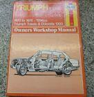Triumph Toledo & Dolomite Haynes Manual, 1296cc (1300), 1970 to 1978