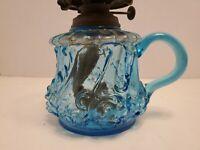 Pretty Blue Glass Antique 1890 Kerosene Oil Finger Lamp (Cracked)
