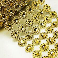 """3.75""""1 Yard Diamond Gold Flower Mesh Wrap Roll Crystal Rhinestone Sparkle Ribbon"""