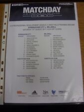 12/08/2017 Birmingham City Youth v Millwall Youth [At Wast Hills] (single sheet)