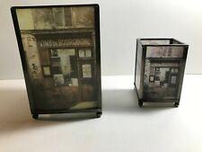 Pair Vintage Metal Glass Candle Holder Lanterns