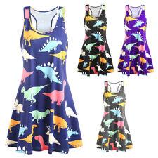 NWT Womens Dinosaur Print Party Sleeveless Swing Tank Tops Mini Dress Plus Size