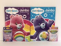 New Care Bears 4 Piece Jumbo Coloring & Activity Books + Glitter & Pearl Crayons