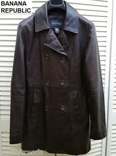 Banana Republic leather jacket dark brown military double breasted trench coat M