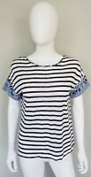 Chicos Womens Top Shirt 0 US S Linen Rayon White Navy Blue Striped Short Sleeve