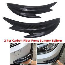 2x Real Carbon Fiber Car Bumper Spoiler Front Splitter Shark Fin Canards Chin