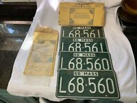 Consecutive Pairs 1966 Massachusetts Mass MA License Plates L68-560 and L68-561