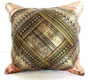 Indian Pillow/Cushion Cover, Silk Brocade, Indian pillow, Multi-color Pillow