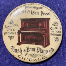 CELLULOID POCKET MIRROR ADVERTISEMENT BUSH & LANE PIANO CHICAGO UNSURPASSED TONE