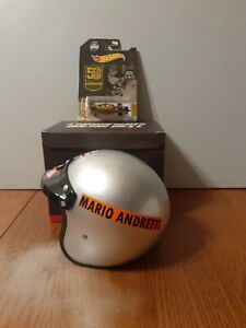 MARIO ANDRETTI, 1:2 SCALE HELMET,1969-2019 INDY 50th with Hot Wheel 1:64