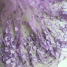 """1Yard Purple 3D Flower Embroidered Mesh Lace Fabric Bridal Dress 51"""" Width"""