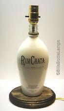 RUM CHATA Liquor Bottle TABLE LAMP Light w/ Wood Base Bar Lounge Man Cave Decor