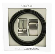 Calvin Klein Ck Men's Leather Reversible Buckle Belt 3 Piece Set Box Black 74360