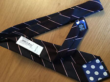 Paul Smith color prugna & Navy a strisce CRAVATTA Mainline 9cm lama