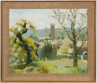 Jane Storey - Signed & Framed 1972 Oil, Village Landscape Scene