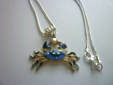 Silver Tone Snake Chain Lobster Clasp Blue Crab Crystals
