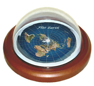 Flat Earth Map Dome Display Model - wood base, plastic dome, gift
