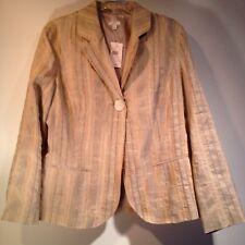 J Jill Women's Size L Tan Beige Linen Blend one button Jacket Blazer NWT $148
