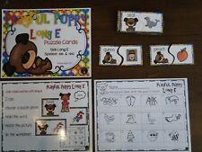 Literacy Bag Long Vowel E Puzzles Resource Supplies phonics center Teacher Made