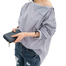 Stylish Lady Batwing Sleeve Shirt Striped Loose Oblique Collar Blouse Shirt Tops