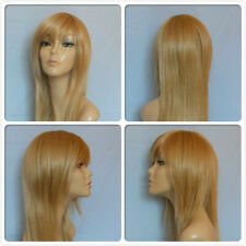 HIGH HEAT RESISTANT LONG HAIR GOLD HONEY BLONDE LADY WOMENS DAILY FULL WIG UK