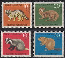 Germany Bund BRD 1968 Mi 549/52 ** Tiere Animals Wildkatze Cats Biber Dachs