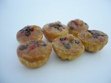 Set of 6 Cupcake with Topping Dollhouse Miniatures Food Deco Yummy Pastry