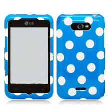 For LG Motion 4G / Optimus Regard HARD Case Snap On Phone Cover Blue Polka Dots