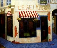 Quality Hand Painted Oil Painting Storefront at Street Corner 20x24in