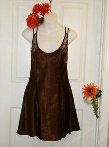 Victoria's Secret Size S Dark Brown Satin & Lace Babydoll Gown Chemise