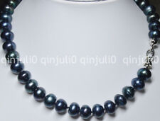 GENUINE NATURAL PEARL 9X12MM TAHITIAN BLACK PEARL RONDELLE BEADS NECKLACE 18''