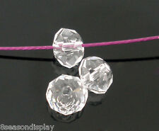 200PCs Crystal Quartz Faceted Rondelle Beads Jewelry 4mm
