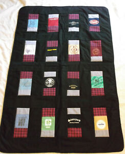 ALCOHOL themed t shirt quilt handcrafted patchwork 60 x 39 throw lap new brewery