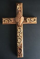Hand Carved Sacred Heart Wood Cross