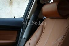 2PCS NEW BLACK GENUINE LEATHER LUXURY CAR SEAT BELT SHOULDER PADS THICK CUSHIONS
