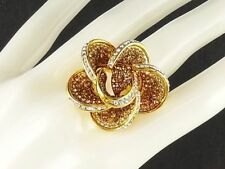 14K Gold GP Ribbon Lace Cocktail Ring with Swarovski Crystal Sz 6.5