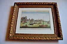 """Original 1750 hand-colored engraving """"optical print"""" """"Vue de Londres"""" (pre-1800)"""