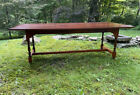 Vintage D. R. Dimes maple dining table with stretcher base and turned legs