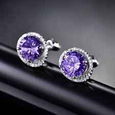 HUCHE Luxury Purple Diamond Amethyst Silver Women Party Daily Studs Earrings NEW