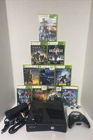 500GB Xbox 360 S Console Bundle 2 Cons HALO Fallout Battlefield 10 Gms & Cords