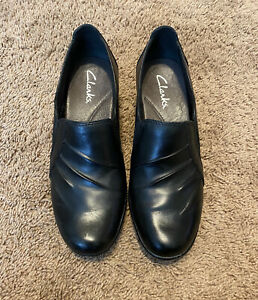 Clarks Woman's Shoes Mules Sz 6.5 Leather Slip On Black Wedge Heel Shoes