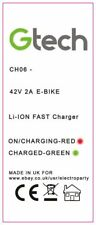 GTECH CH06 EBIKE LI-ION Battery CHARGER POWER ADAPTOR PSU ,UK MADE 42V 2A CHO6