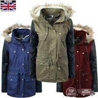 Women Ladies Jacket Faux Fur Collar Hooded Parka Long Coat Winter Top Plus Size