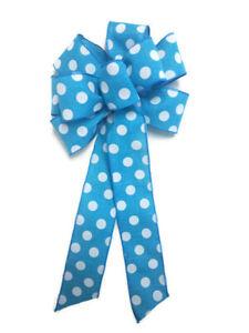 "Large 9-10"" SKY Blue White Polka Dot Wreath Bow Linen Summer Spring Aqua"