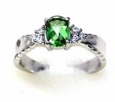 #R2399 0.75ct Forest Green Helenite White Gold Over 925 Sterling Silver Ring